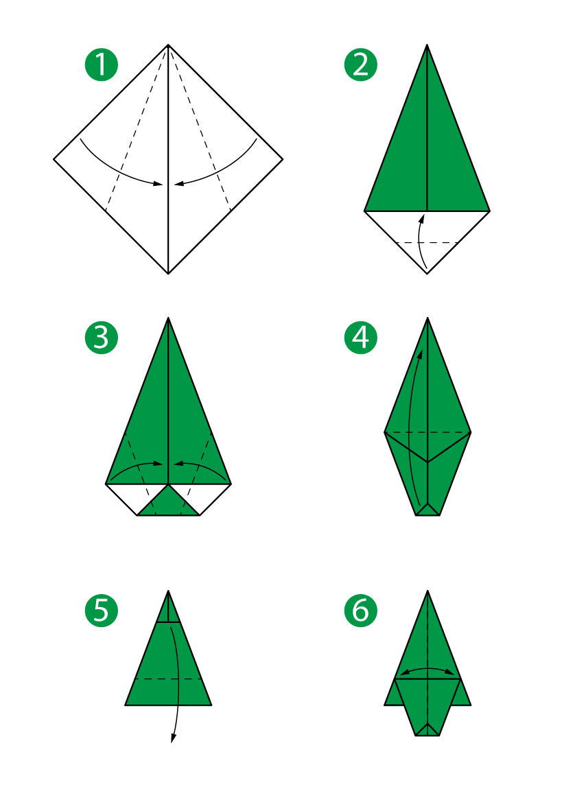 Origami step by step instructions of a christmas tree | free.
